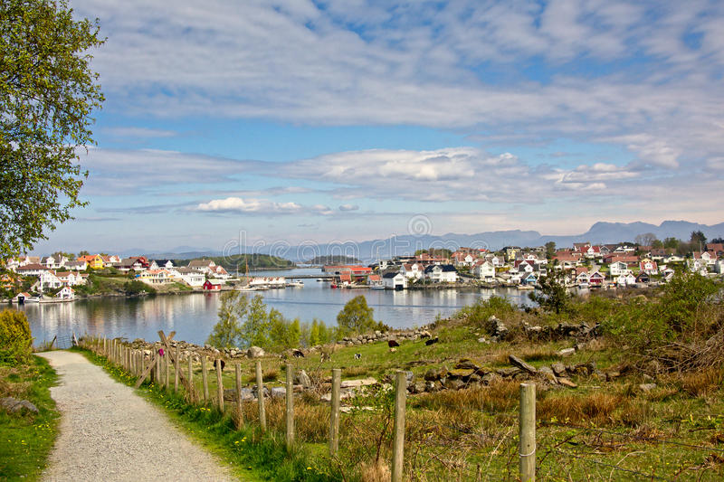 Path through nature in Hundvåg, with lysefjord and island of Bjørnøy behind. Stavanger, Norway royalty free stock photography