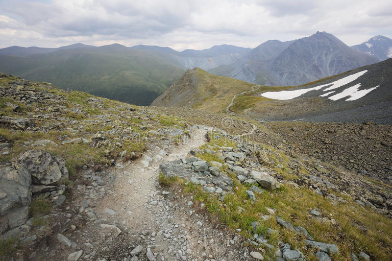 Path. Pass Kara-Turek, mountain Altai stock photos
