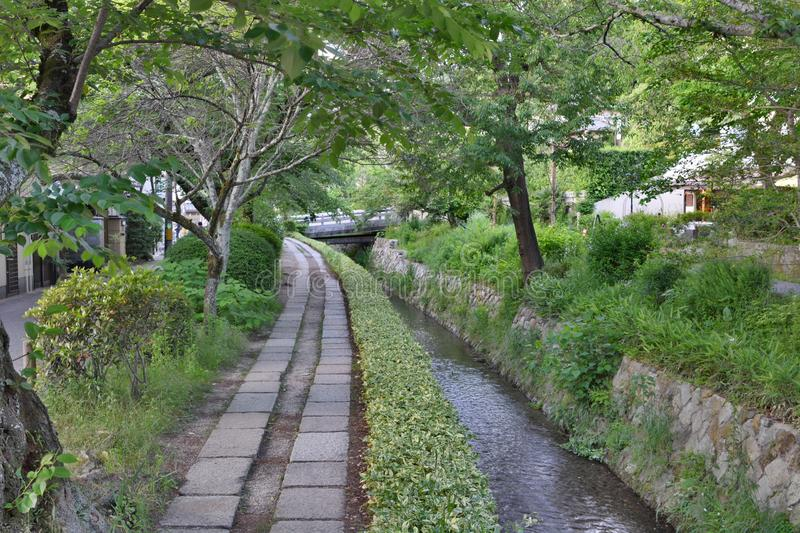 The Path of Philosophy in late spring. Kyoto. Japan. The Philosopher`s Walk is a pedestrian path that follows a cherry-tree-lined canal in Kyoto, between Ginkaku stock image