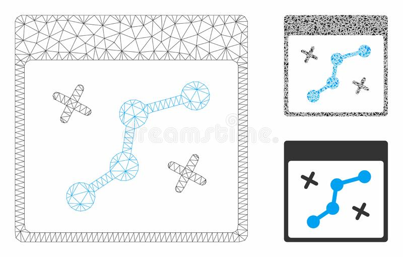 Path Points Calendar Page Vector Mesh 2D Model and Triangle Mosaic Icon. Mesh path points calendar page model with triangle mosaic icon. Wire frame triangular royalty free illustration