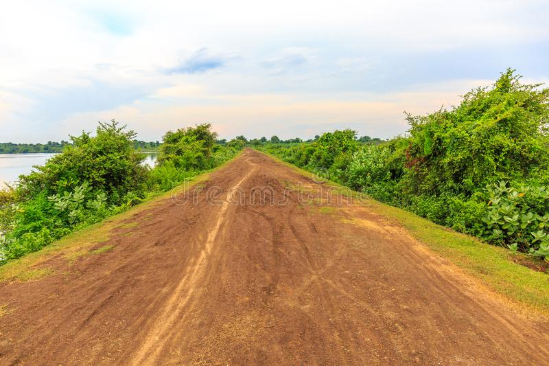 Path on a Quiet Dirt Road under Cloudy Sky royalty free stock image