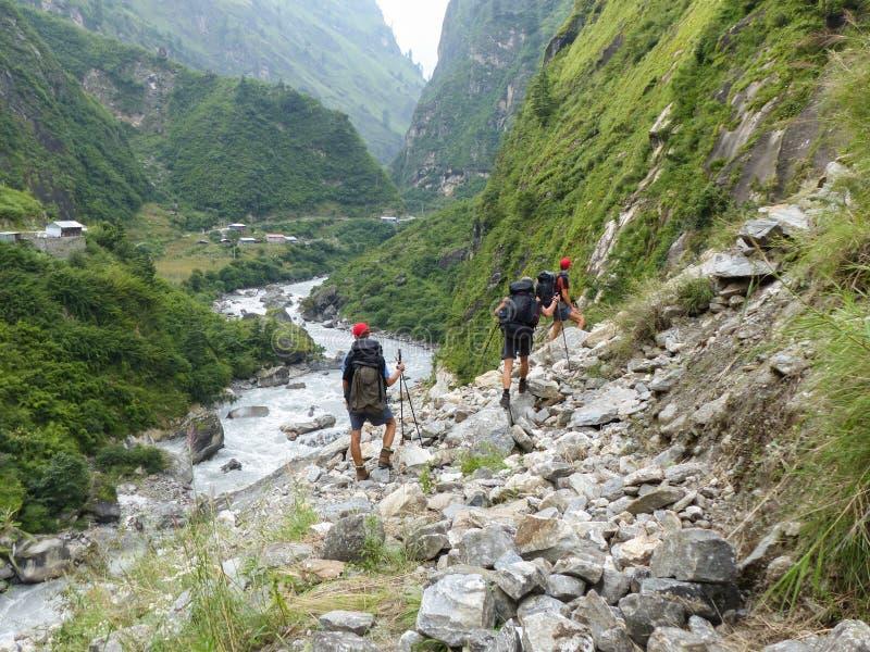 Path through river Marsyangdi valley. Marsyangdi river valley - Annapurna circuit trek in Nepal stock photos