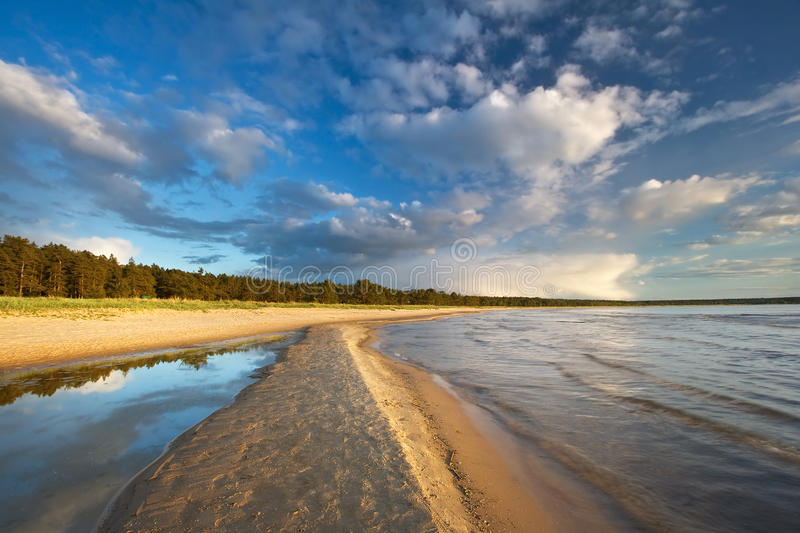 Path on the sea in evening light. At summer royalty free stock image