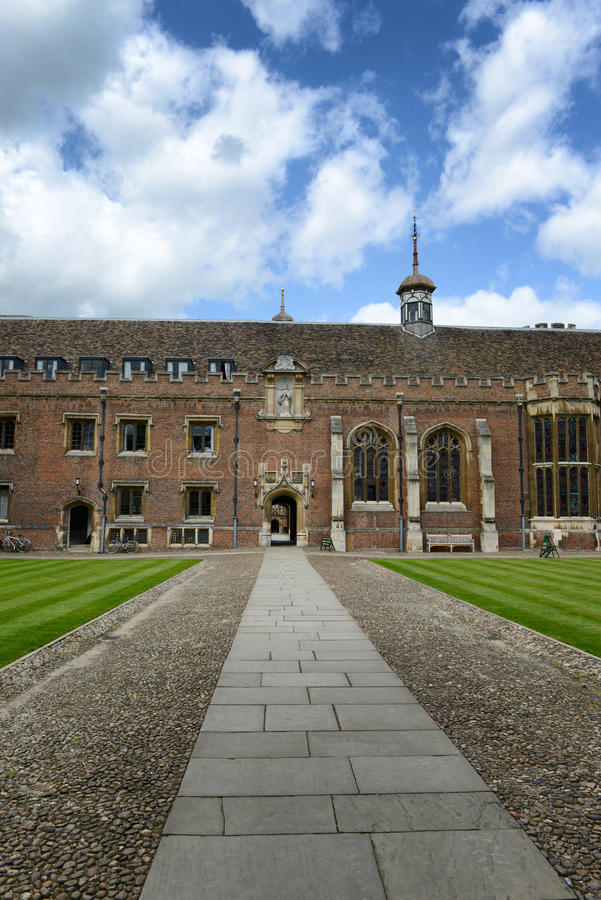 Path Through Second Court of St Johns College. Surface Level View of Walk Way Leading Through Archway in Second Court of St Johns College, University of royalty free stock photos