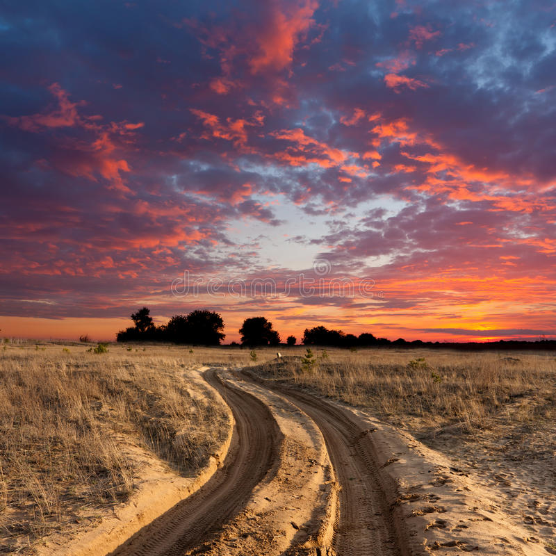 Download Path In Steppe On Sunset Royalty Free Stock Images - Image: 26146089