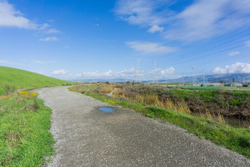 Path in Sunnyvale Baylands Park after a rainy day, south San Francisco bay, California royalty free stock images