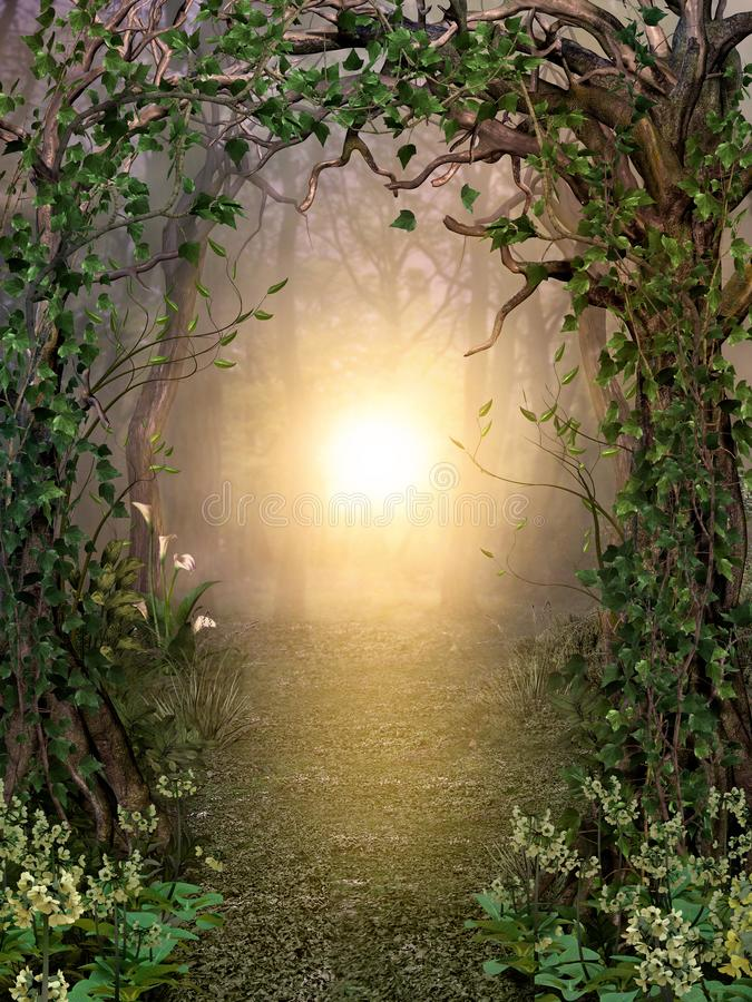 Free Path Through Enchanting Fairytale Deep Forest View With Beautiful Heavenly Sunset Stock Photo - 165123220