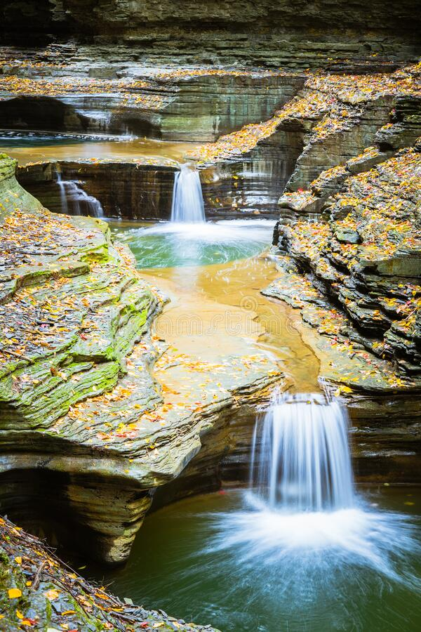 Free Path Through Small Falls In Finger Lakes, USA Stock Photography - 192886962