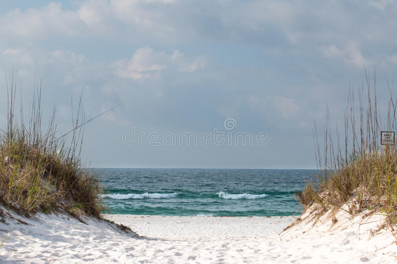 A path thru the sand dunes leading to the beach. royalty free stock photo