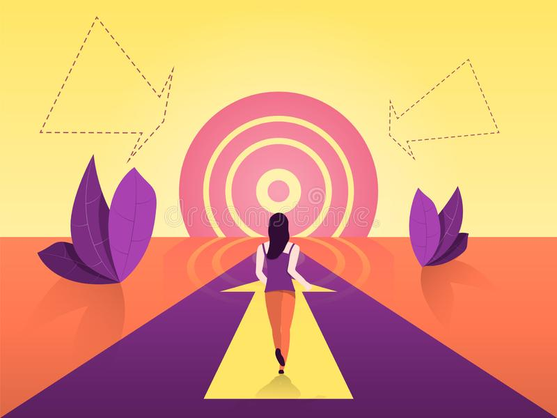The path to achieving the goal. Road motivation goes to a goal similar to the sun. vector illustration