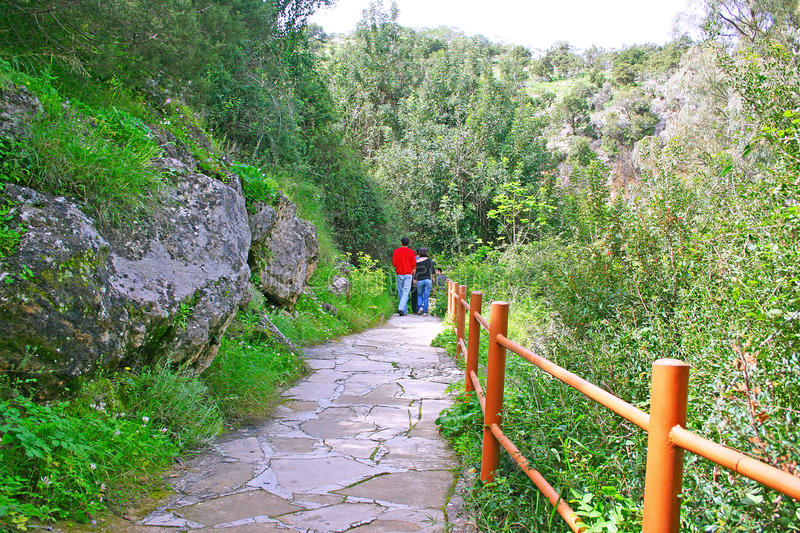 Path to the baths of Aphrodite stock photography