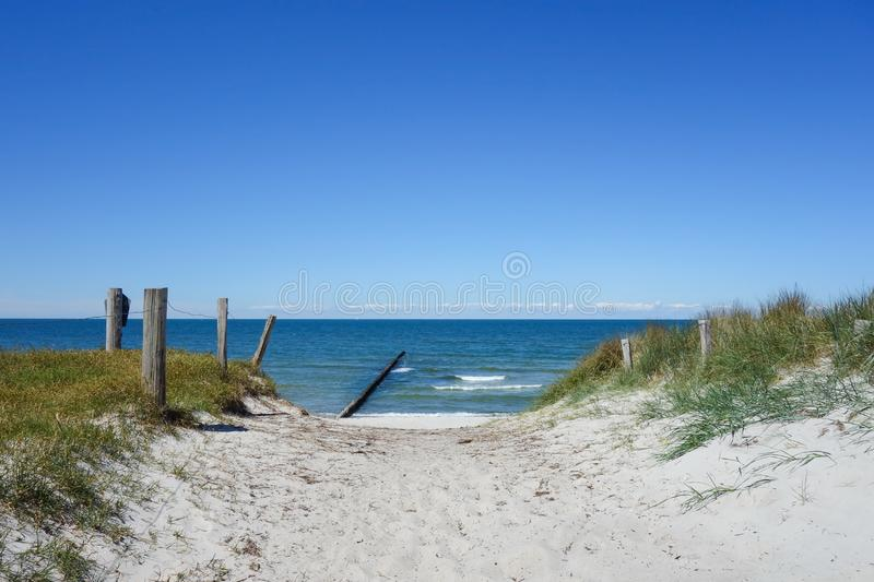 Path to the beach on a dune on Hiddensee Island, Germany. Path to the beach on a dune on Hiddensee Island In Germany royalty free stock photography