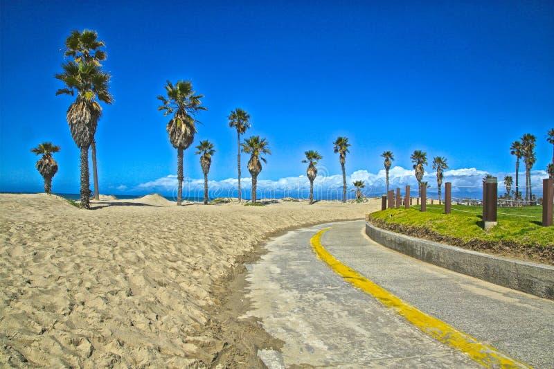 Path to beach Mandalay Bay California. Walking biking path lined with palm trees along the Oxnard beach of Mandalay Bay in California royalty free stock image
