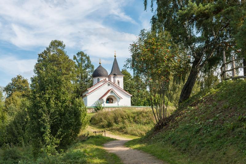The path to the Church of the Holy Trinity in the Bekhovo village, Russia, Polenovo royalty free stock photography