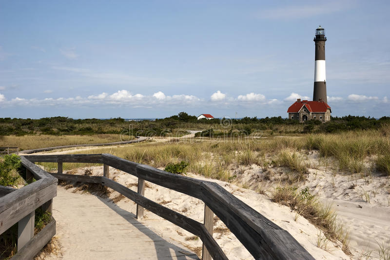 Path to the Fire Island Lighthouse. Path to the famous Fire Island Lighthouse located on Fire Island National Seashore, Long Island, New York royalty free stock image