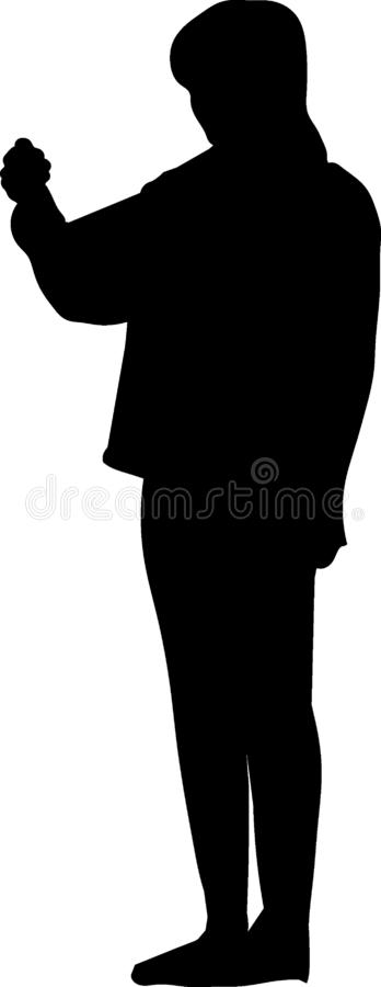 The model. The transparent vector illustration . The woman who standing amd holding his arm stock illustration