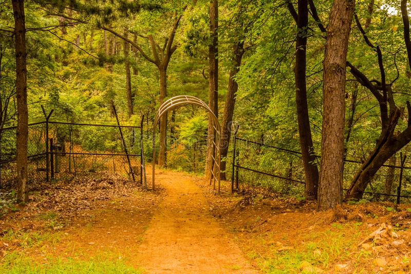 Path to gate in fence stock image
