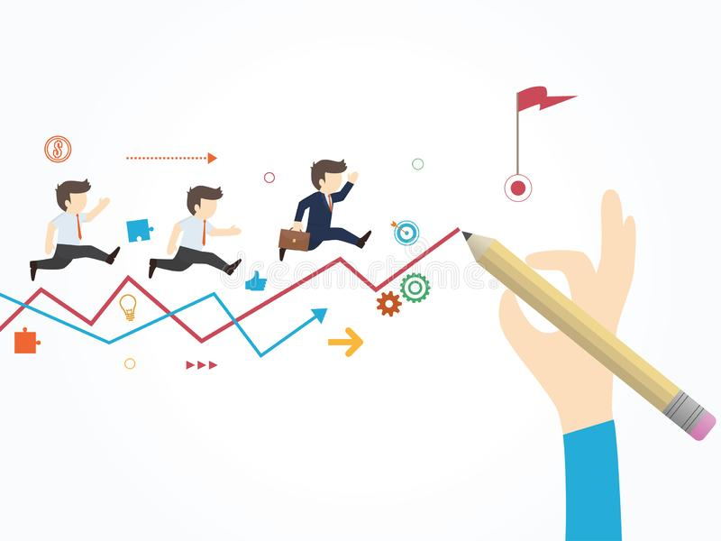 Path to the goal. Businessman hand drawing a line leading to the goal. royalty free illustration