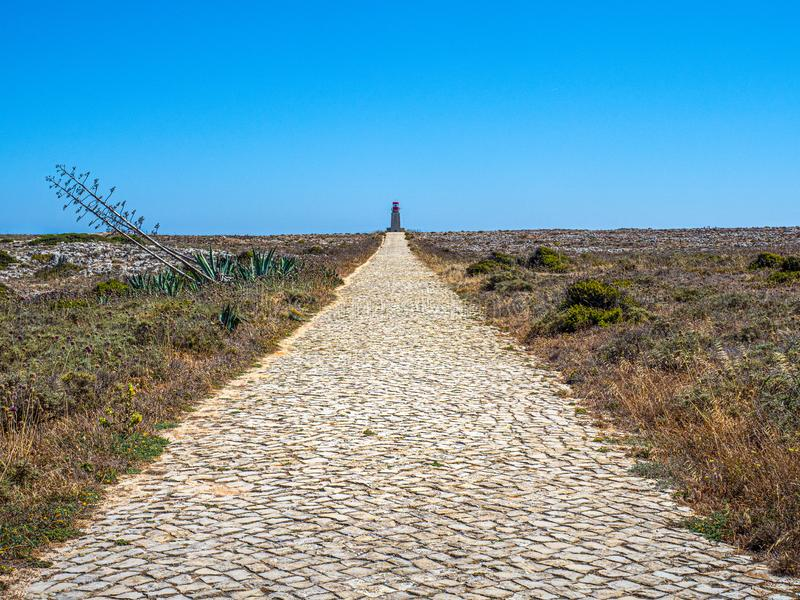 Path to the Lighthouse of Ponta de Sagres royalty free stock photos