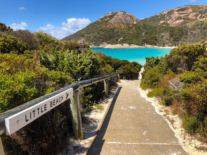 Path to Little Beach at Two peoples Bay conservation reserve in. Path to Little Beach with white sand, beautiful sapphire blue shade of sea water, Mt Gardner at stock image