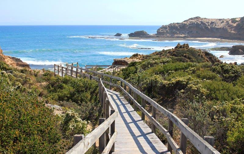 Path to the ocean. Diamond Bay, Mornington Peninsula, Victoria, Australia stock photos