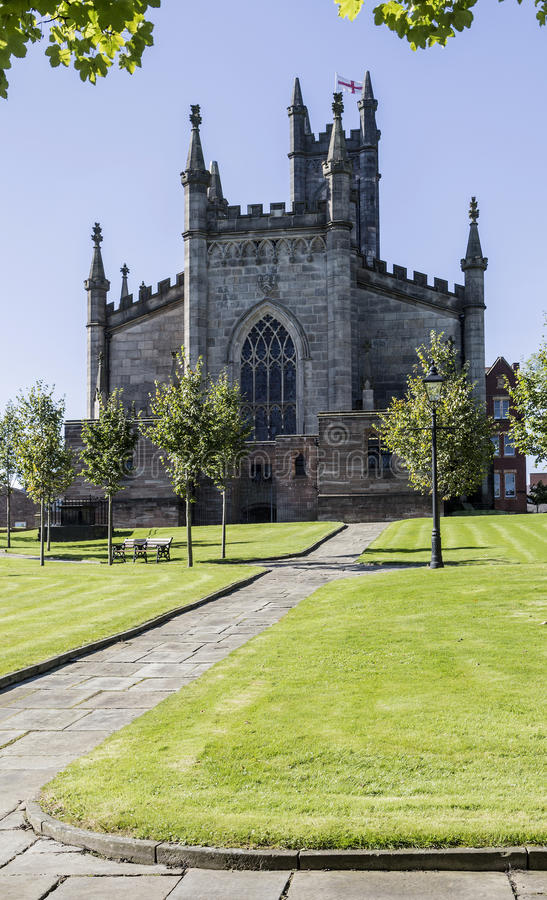 Path to Oldham Parish Church in Lancashire royalty free stock photo