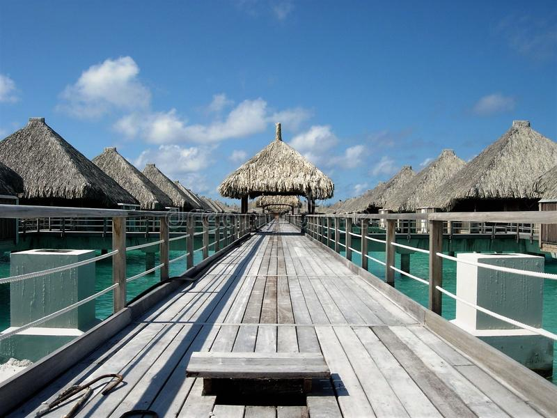 Path to over water bungalows Bora Bora summer vacation royalty free stock photo