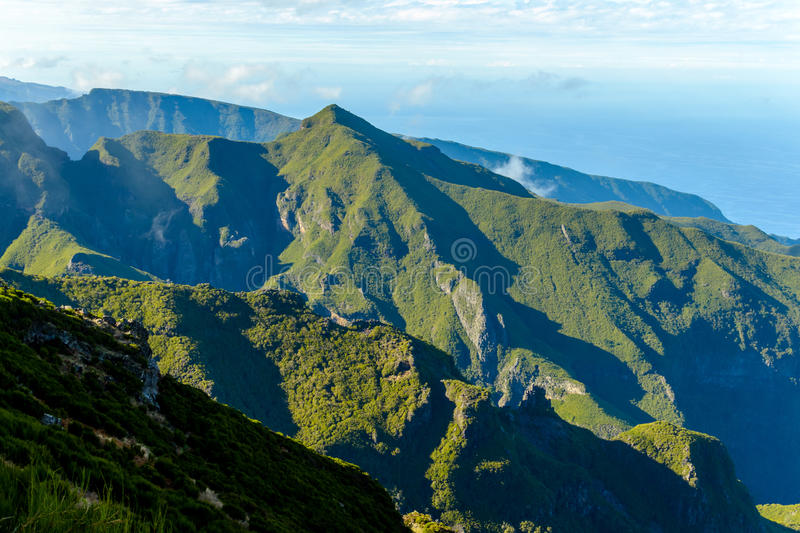 The path to Pico Ruivo, wonderful views of the mountain peaks in Madeira, Portugal stock image