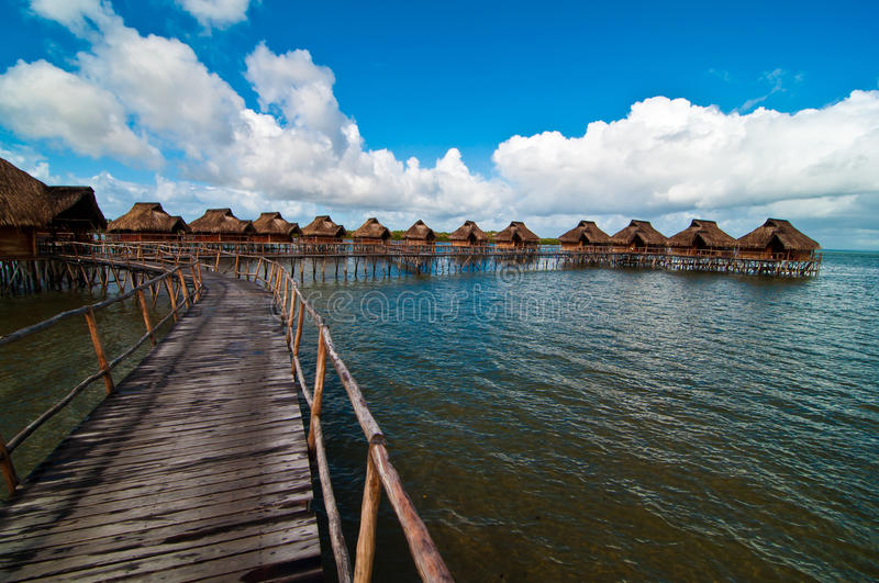 The path to the romantic bungalows resort