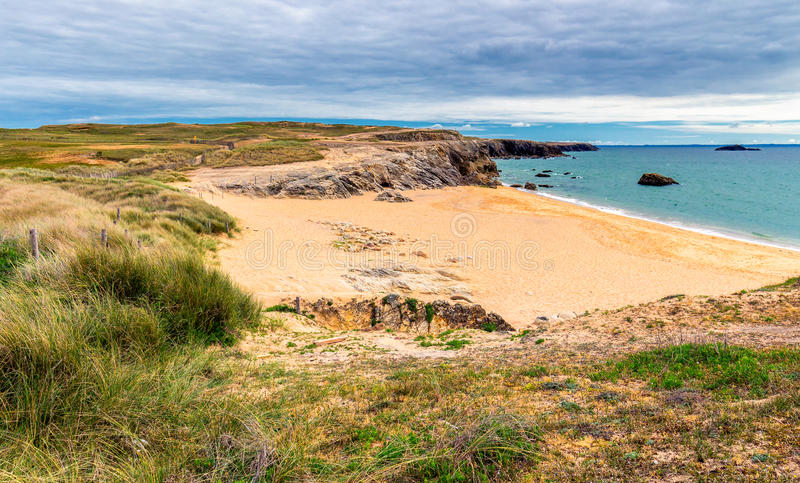 Path to sand beach with beachgrass. Way to the wide sandy beaches of the Atlantic. stock images
