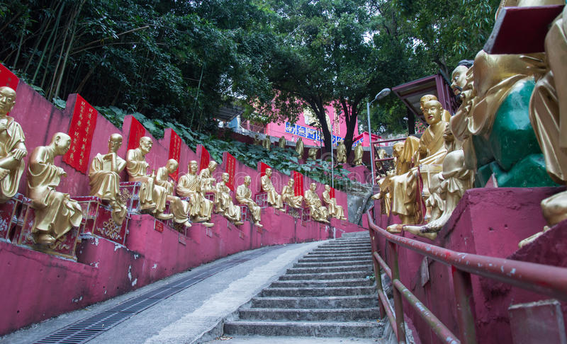 Path to Shatin 10000 Buddhas Temple, Hong Kong royalty free stock image