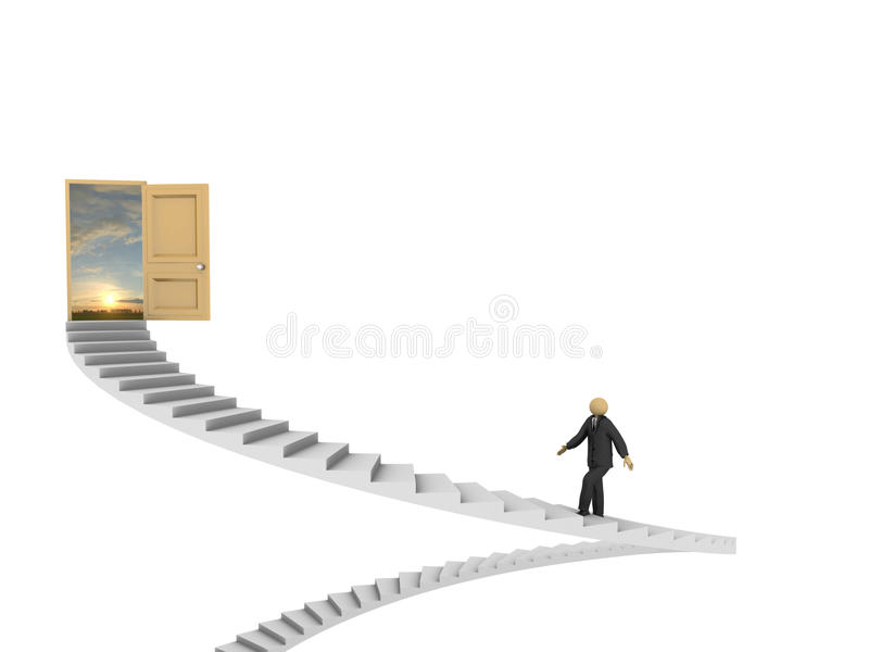 Path to Success. A 3d image of businessman making his way to success stock illustration