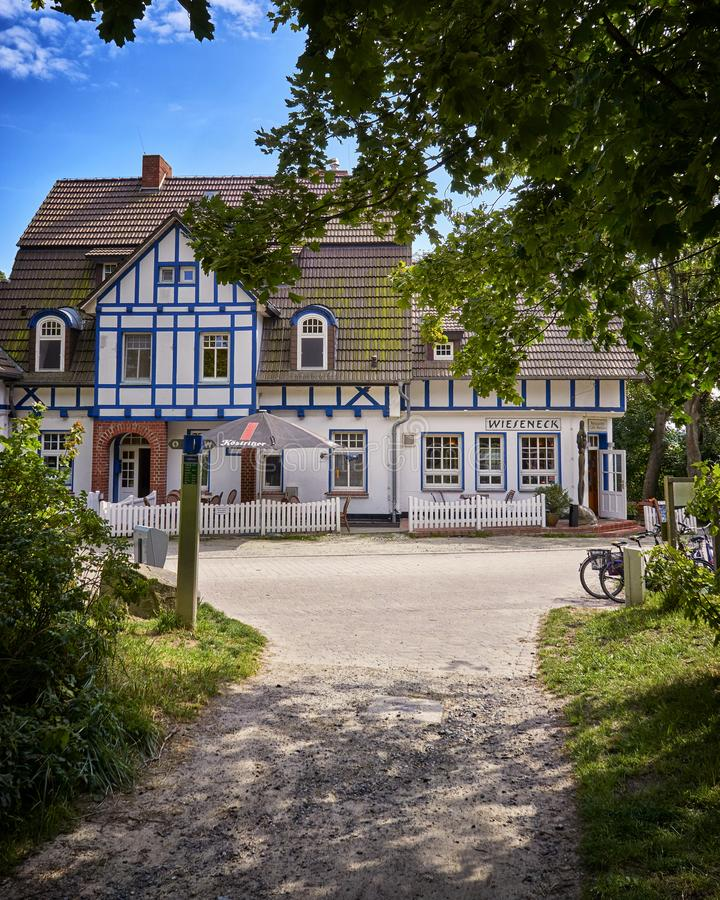 Path to the traditional historic building in Kloster on the island Hiddensee, Baltic Sea, Germany. House, architecture, hotel, travel, tourism, coast, cottage royalty free stock photos