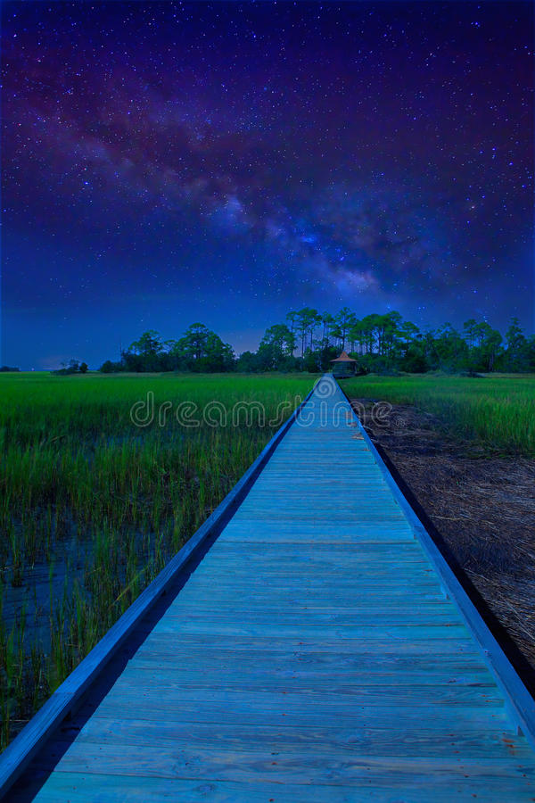Path to unknown destination with milky way stock photos