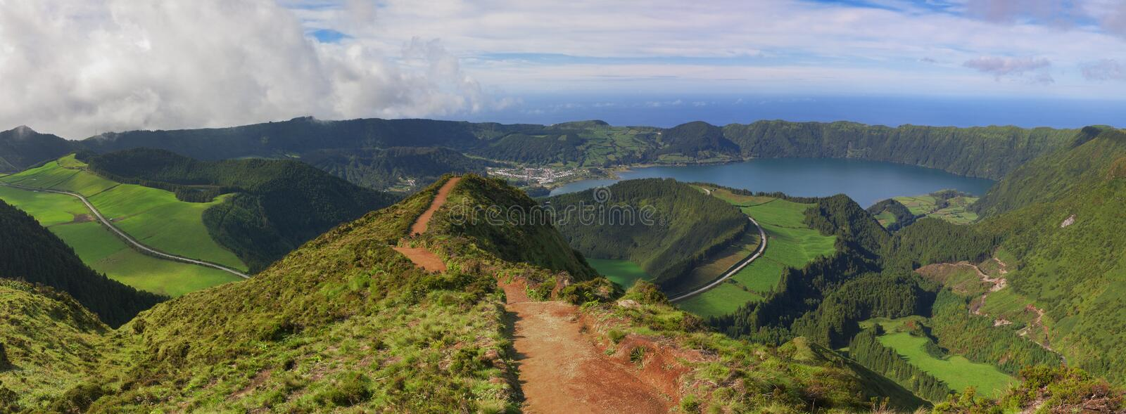 Path to a viewpoint at Sete Cidades, San Miguel, Azores stock photography