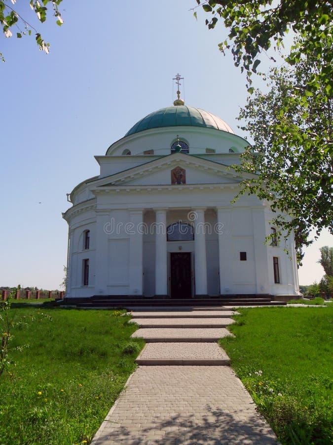 Path to the white Christian church royalty free stock photo