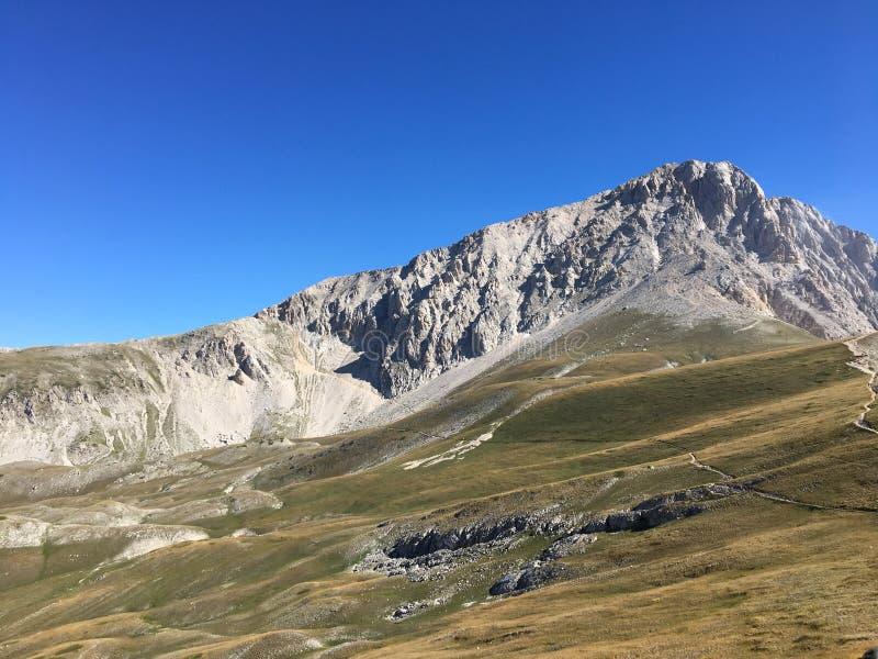 Path trekking over the mountain stock photo