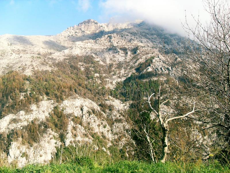 Path and view of Mount Faito in Italy royalty free stock image