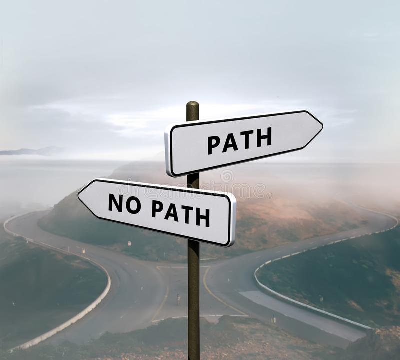 Path vs no path sign. Signs on a road stock image