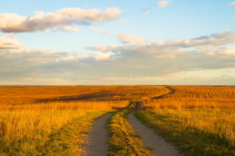 Path on Wah`Kon-Tah Prairie royalty free stock photo