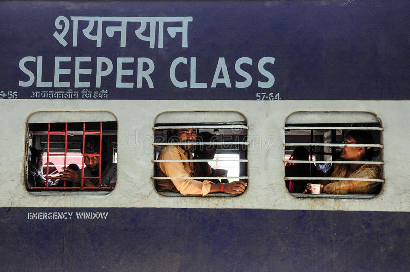 Pathankot, India, september 9, 2010: Indian sleeper class train. With his passengers inside stock photo