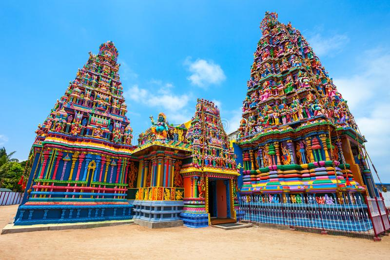 Pathirakali阿曼寺庙,亭可马里 免版税图库摄影