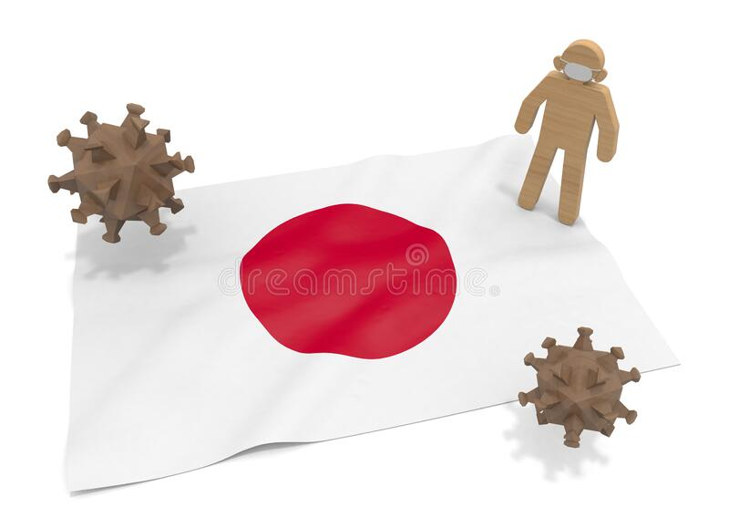 3D illustration. Japan flag. Protect yourself from pathogens. Infectious virus is epidemic. vector illustration