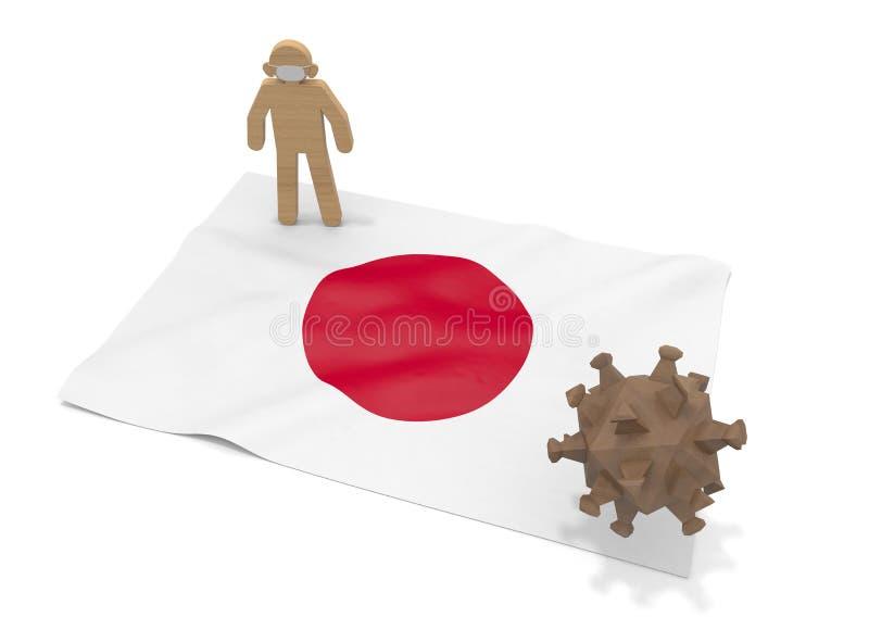 3D illustration. Japan flag. Virus forces expand. Prevent disease.us forces expand. Prevent disease. royalty free illustration