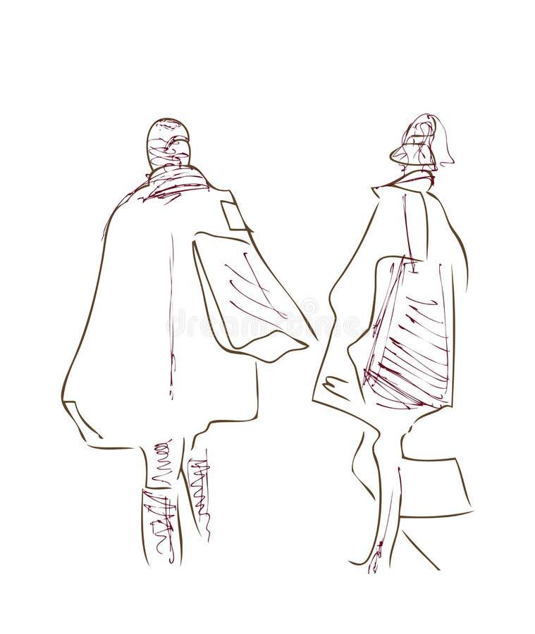 Paths Cross. Women Meet. charcoal on paper vector illustration