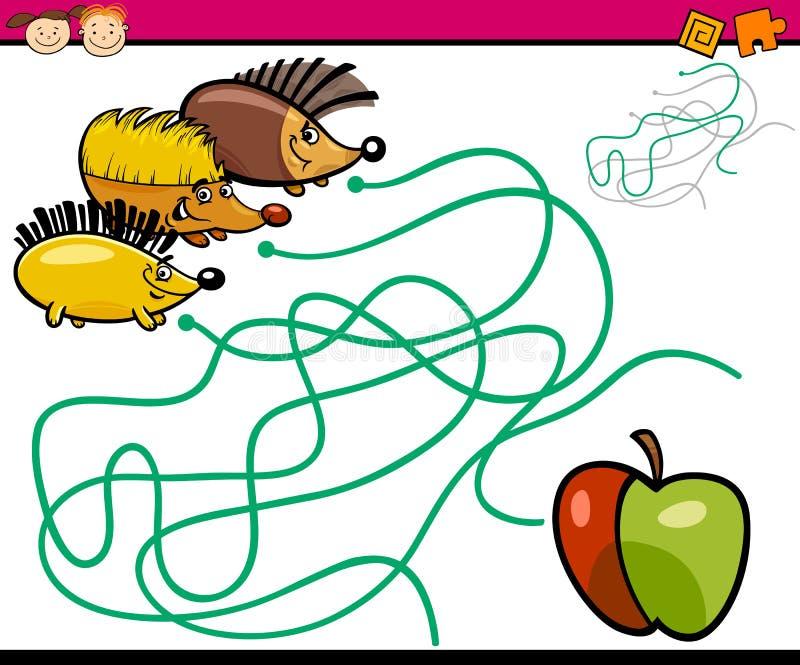 Paths or maze cartoon game vector illustration