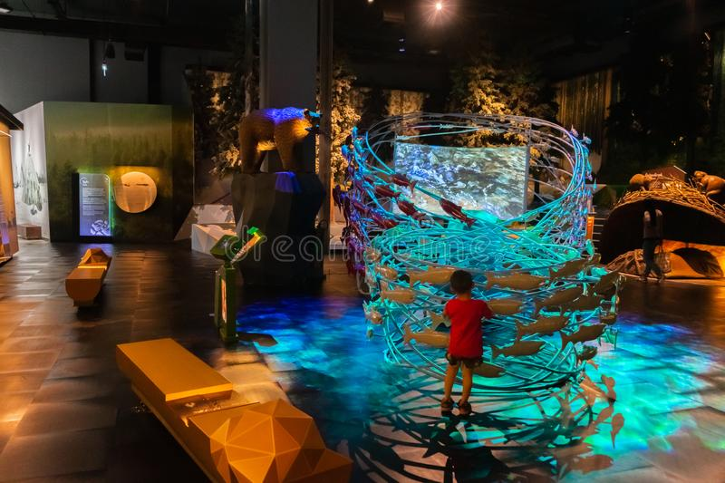 Pathum Thani, Thailand - June 15, 2019:  Taiga Museum at the Rama 9 Museum in the National Science Museum NSM, Thailand. Rama 9. Museum is the new museum in The stock photography