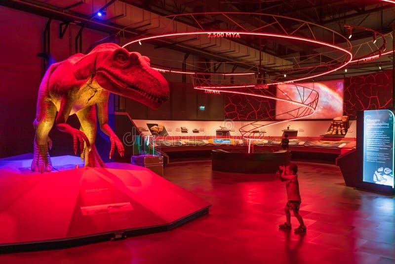 Pathum Thani, Thailand - 15. Juni 2019: Dinosaurier Siamotyrannus Isanesis am nationalen Wissenschafts-Museum NSM, Thailand E lizenzfreie stockfotografie