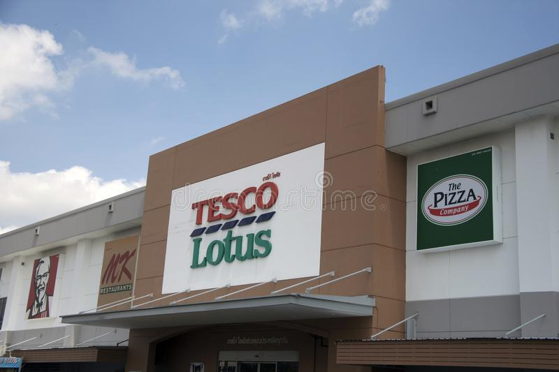 The sign name on the board of daylight at Tesco Lotus Discount Store on blue sky background. royalty free stock image