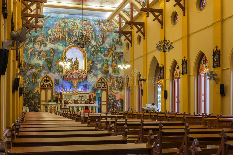 PATHUMTANI, THAILAND - FEBRUARY 28 : The interiors of Catholic c. Hurch, It was built with French Style since 1910, people can pray for god jesus in there, at stock photo
